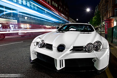 Mercedes SLR McLaren Fab-Design Desire (Murphy Photography) Tags: uk blue light red england white bus slr london cars night canon matt photography eos mercedes switzerland long shot nightshot time stripes plate harrods arab mclaren gb tuner supercar murphy coup supercars londen roadster fabdesign bodykit 722 9111 50d quatar buslight 722s