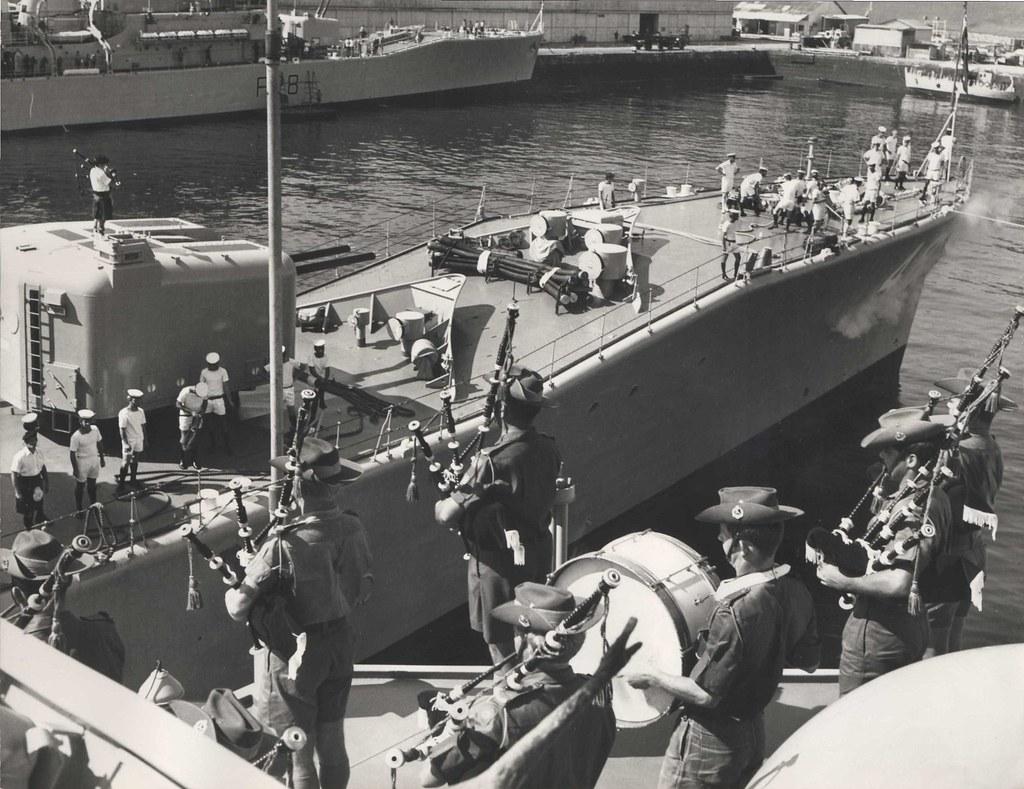 May 12, 1972: HMAS STUART [II] and The Great Sembawang Basin Bagpipes War  - Photo HMAS Cerberus Museum.