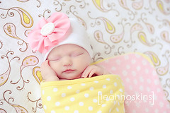 .sweet as sugar. (*miss*leah*) Tags: pink sleeping baby flower girl hat yellow nikon pattern girly polkadots newborn button ribbon paisley newbornbaby newbornphotography nikond700 leahhoskins professionalnewbornphotographer professionalchildrensphotographer