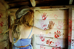 lostgirllonelyheart (chelseyfulbright.) Tags: pink blue red urban white abandoned girl hat rural photography belt illinois pretty hand dress teen teenager cari playhouse exploration handprint abandonment