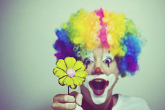 c is for rainbow afro (enjoythelittlethings) Tags: silly flower rainbow dof clown afro daisy facepaint mfimc