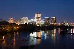 Richmond Skyline from Belle Isle Pedestrian Bridge at Night (Ty Johnson Photography) Tags: city bridge urban usa colors skyline night buildings river landscape manchester lights virginia long exposure downtown cityscape outdoor richmond transportation 1855mm rva d90