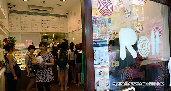 """""""Roll"""" sponge cake shop beside Gong Cha which also has very good business"""
