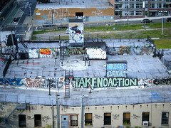 Roof (BruceLabounty802) Tags: street new york nyc art les graffiti goal action no elvis link take grunt hellbent bak muk gen2 roa oze108 octer takenoaction