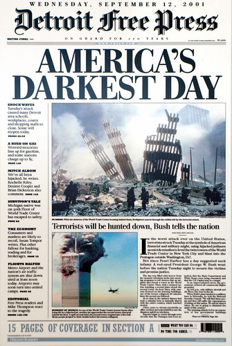 9/11, 2001, Detroit Free Press, Detroit, Michigan