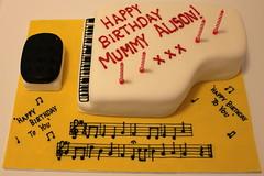 A Music Teachers Birthday Cake! (Pauls Creative Cakes) Tags: birthday music cake candles notes piano teacher mum stool