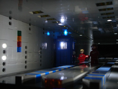 The TARDIS arrives on board the ISS Europa