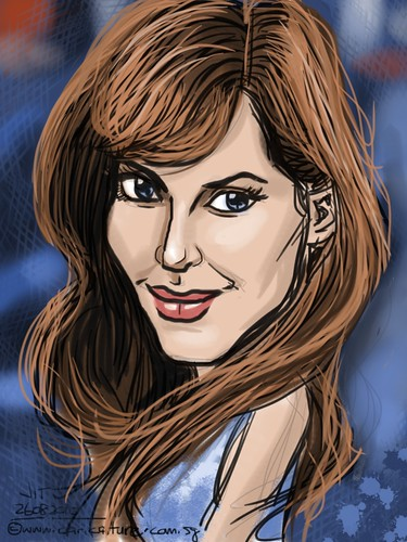 Angelina Jolie caricature on iPad Sketchbook Pro