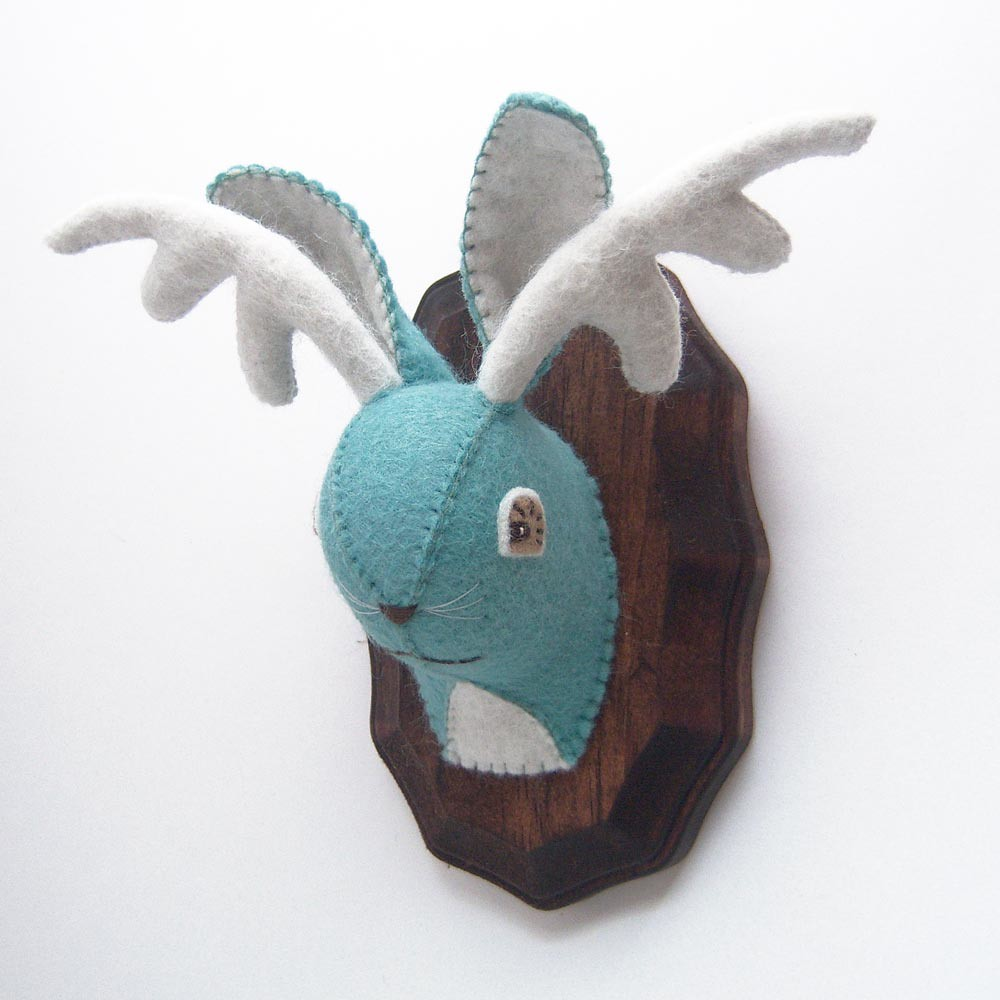 Jackalope 84 Feltidermy, Faux Taxidermy Plush