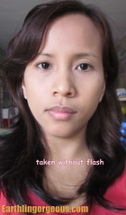 wearing Myra E Shine Free Face Powder taken without flash