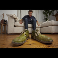 257/365: Must have stepped in some manure... (Mr. Flibble) Tags: green big shoes explore sofa massive surprise huge shock 365 frontpage forcedperspective laces explored idrinkleadpaint