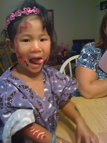 Our facepainting guinea pig- Emily!
