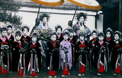 Two Tayuu and Kamuro 1909 (Blue Ruin 1) Tags: japan children kyoto child kimono obi umbrellas coloured tinted 1900s parasols attendants yoshiwara shimabara kanzashi retinue meijiperiod oiran tayu tayuu kamuro kainokuchi handcolouredpostcard japanesecourtesan hikikomikamuro