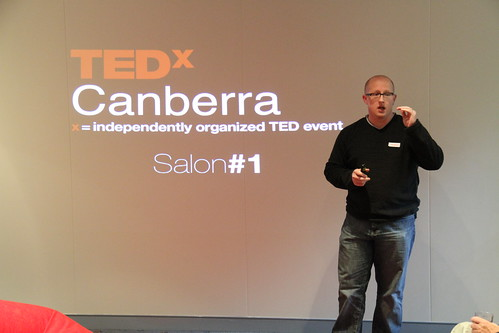 Stephen Collins introducing the first TEDx Canberra Salon event