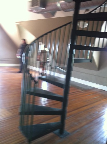 blurry...spiral staircase in loft
