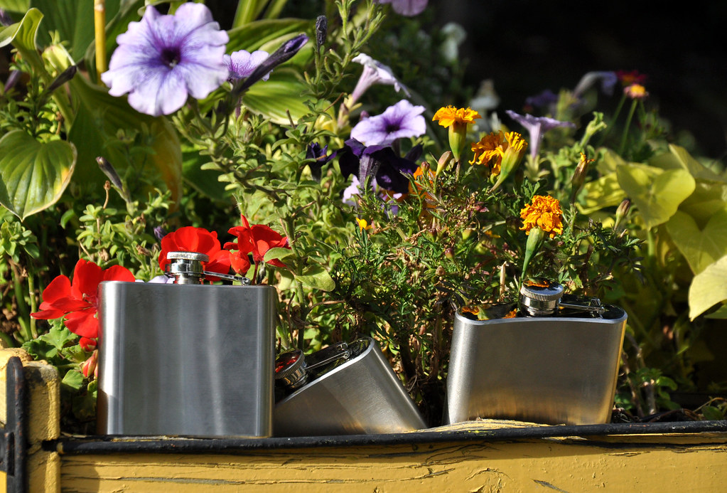 flasks in the windowbox
