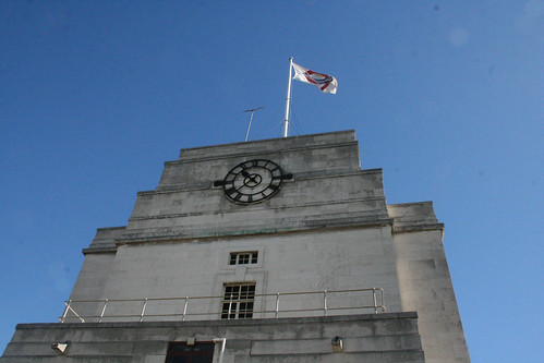 The roof clock and flag