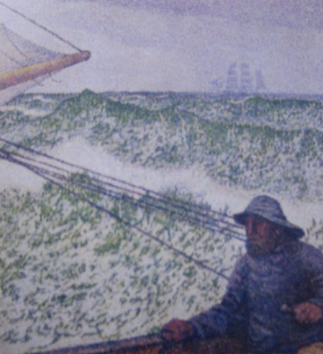 The Man at the Tiller (detail), Théo van Rysselberghe, 1892, Musée d'Orsay, De Young Museum, San Francisco