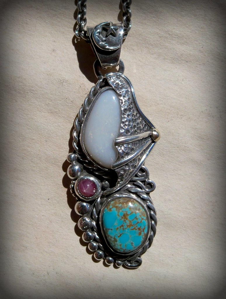 White Dragon Opal Turquoise and Star Ruby Pendant