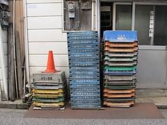 stacks and a cone (Samm Bennett) Tags: japan wall tokyo cone stack meter arakawa