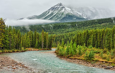 Low Hanging Clouds at Banff National Park (Jeff Clow) Tags: morning travel vacation holiday mountains tourism clouds river bowriver albertacanada banffnationalpark lakelouisecanada