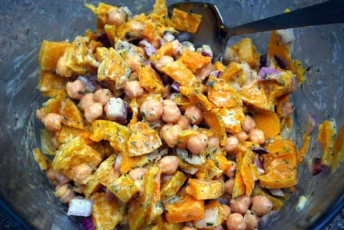 Warm Butternut Squash and Chickpea Salad with Tahini Dressing