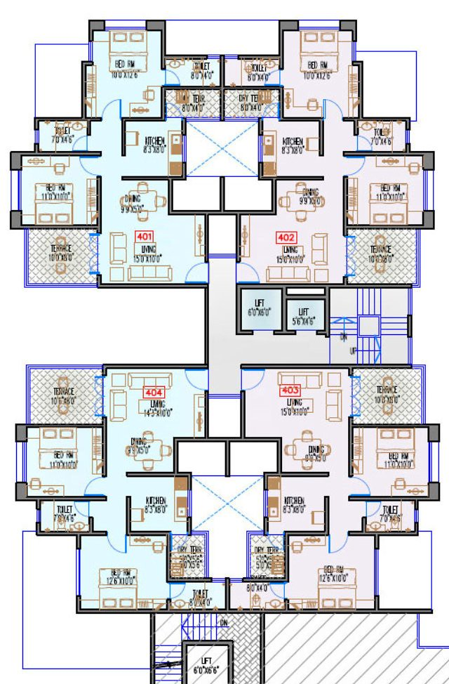 Navjeevan Properties'  Blue Bells, 2 BHK Flats opposite Pu La Deshpande Udyan on Sinhagad Road Floor Plan - 4th floor
