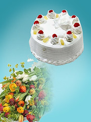 Discounted Combo (pakgift) Tags: flower cake large pineapple bouquet 4lb