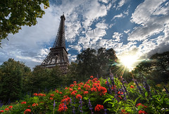 Another Summer Day in Paris (Stuck in Customs) Tags: world park city travel flowers summer sky urban sun paris france tower metal seine clouds digital french island photography blog high iron europe day republic dynamic stuck state district capital eiffeltower scenic engineering eiffel icon structure historic september photoblog software latoureiffel champdemars processing western imaging northern region range iconic arrondissement 7th metropolitan hdr tutorial trey rivegauche travelblog customs 2010 greenspace ratcliff hdrtutorial stuckincustoms treyratcliff ladamedefer regionparisienne photographyblog iledefrance stuckincustomscom nikond3x republiquefrancaise