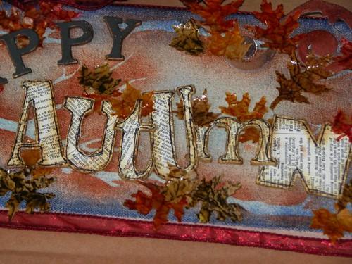 Happy Autumn Plaque - Distressed Brown Bag Glaze Technique 012