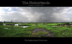 Dutch Landscape (shoot it!) Tags: panorama fall clouds photoshop season landscape groen herfst wolken gras polder leafs stich landschap watertoren kwadijk purmerend authumn cs5