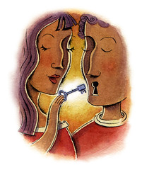 Raconte-moi tout (maralina!) Tags: red orange woman man art love illustration ink watercolor painting rouge couple key warm open drawing lock femme talk communication relationship amour watercolour editorial speak lineart clef reveal homme psychology presse ouvrir magazineillustration parler encredechine psychologies chaleureux raconter