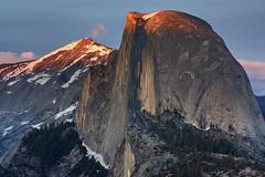 Tip of the Dome (matthewkaz) Tags: california sunset mountain snow mountains nationalpark yosemite halfdome yosemitenationalpark sierranevada glacierpoint 2010