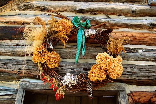 log cabin wreath