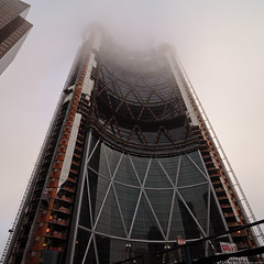 The Foggy Bow (Witty nickname) Tags: morning building calgary glass fog clouds square construction steel wideangle tokina alberta squarecrop thebow nikond90 tokina1116mmf28 thefoggybow