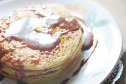 sourdough pancake with caramel irish cream sauce