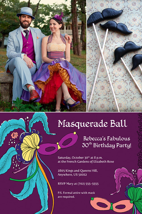 Sample_MasqueradeParty_INV_Purple, masquerade, Halloween, whimisical, etsy, shop, purple, yellow, mask, mustache, lovely, invation, DIY, prints, wedding, birthday, holidays, New Years Eve
