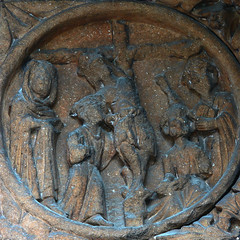 Crucifixion roundel medieval carving