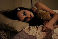 The Monsters Aren't Under the Bed Anymore. (Taylor Dawn Fortune) Tags: black monster hair dead eyes zombie teddybear itsokthough iwasreallyupset ihadtogotokrogerlookinglikethis ilostthatbowinkrogertoday cffdrrr sorryidroppedmyemptybowlofoatmealonthekeyboard