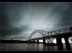The Bridge. (Chrisconphoto) Tags: uk longexposure sky filter nd merseyside widnes movingclouds runcornbridge weldingglass