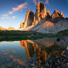 Tre Cime di Lavaredo (Marco Dian - www.marcodian.com) Tags: sunset lake mountains alps reflection