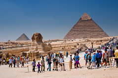 The Great Sphinx of Egypt with the 3 Giza Pyramids as a backdrop.....Explore #410 (MarsW) Tags: sphinx egypt architectural archeology ancientegypt pharaohs gizaplateau pyramidsofgiza ancientcivilisation mywinners anawesomeshot sevenwondersoftheancientworld