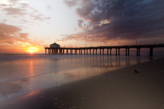 sun hitting the horizon (mewtate) Tags: california sunset me pier wideangle manhattanbeachpier slowwater mewtate beachphotography beachliving amymew singhrayvarind