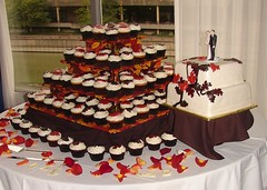 Fall Wedding Cake and Cupcake Tower (JMC Custom Cakes) Tags: wedding red orange brown white tower fall leaves cake square vine cupcake fondant buttercream