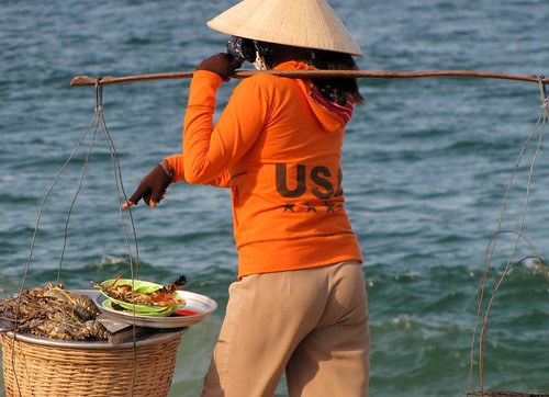 Nha Trang Beach - Woman Selling Lobsters