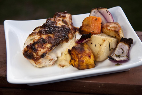 Planked Stuffed & Smathered Chicken w/Root Veg