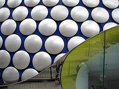 Selfridge building in Birmingham (Katie-Rose) Tags: uk reflection me birmingham modernarchitecture bullring futuresystems katierose selfridge explored 15000spunaluminiumdiscs canondigitalixus95is selfridfges