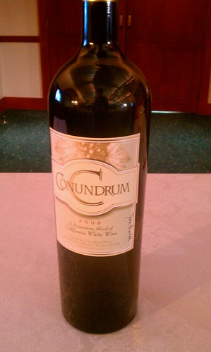 Conundrum bottle signed by winemaker Jon Bolta