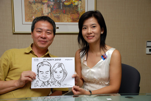 Caricature live sketching for EDB F1 Party 2010 - 13
