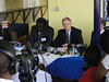 Ambassador Jerry P. Lanier addresses journalists at the ceremony to announce a new supply of Emergency Life-Saving ARVs to Uganda (U.S. Mission Uganda) Tags: us uganda emergency supply provides lifesaving arvs